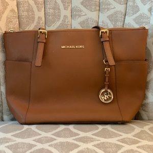 MICHAEL KORS Leather Shoulder Bag {Luggage}
